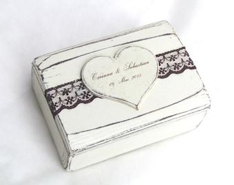 Ring Bearer Box Ring Box Wedding Ring Box Rustic Heart Proposal Ring Box Linen Pillow Wooden Engagement Ring Box
