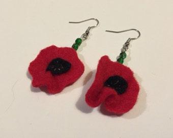 Felt & Bead Poppy Earrings