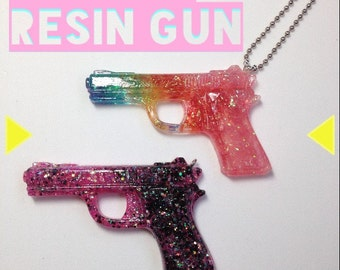 Custom resin gun keychain or necklace pick any color