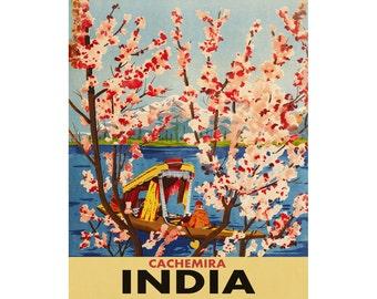India Cachemira Vintage Travel poster Print 20x30 16x20 8x10 Wall Art Aged Finish