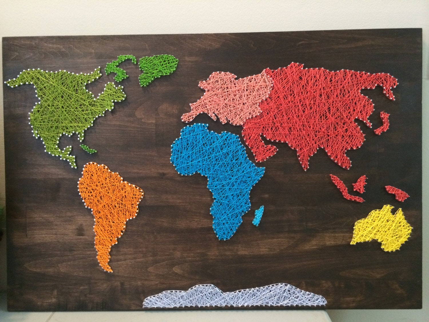 World Map String Art Map String Art