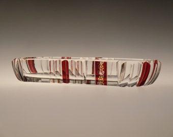 Bohemian Czech Art Deco Glass Tray by Karl Palda
