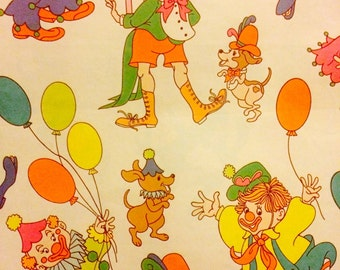 Vintage Happy Clowns and Puppies Gift Wrap