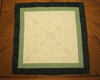 Hand Quilted Flower and Vine Wall Hanging or Table Decoration