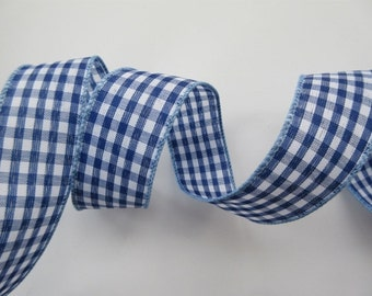15 mm royal blue gingham reversible fabric ribbon by