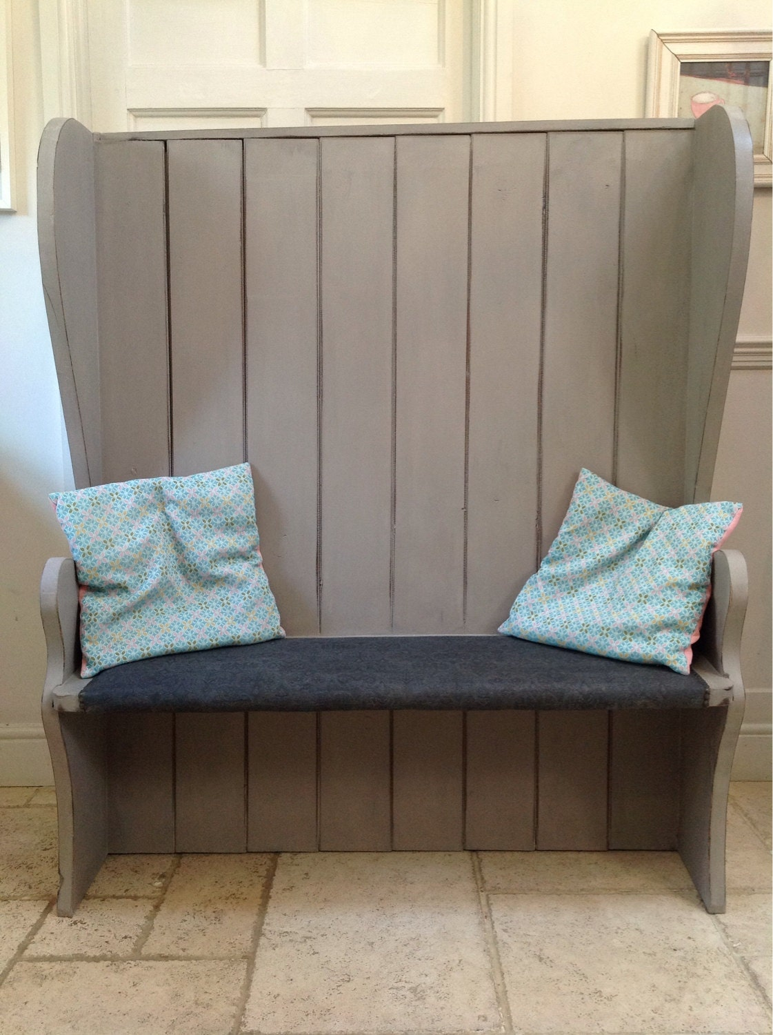 rustic hand painted grey vintage settle monks bench pew