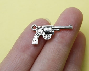 Antique Silver Gun Charms (3D and Double-Sided ) 19x14mm