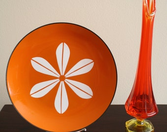 Mid Century Modern Amberina Swung Glass Vase Viking