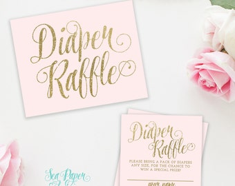 Ava Printable Diaper Raffle Cards & Sign for Baby Shower, Digital: Blush Pink and Gold Glitter INSTANT DOWNLOAD - Ava