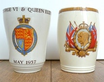 King George V silver jubilee commemoration beaker from 1935 and another from George VI coronation 1937