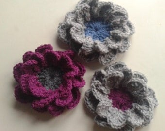 Handmade crochet rose brooch crochet flower crochet jewellery crochet pin.