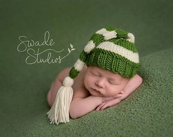 Stocking Hat with Tassel - Knitting Pattern - Newborn -
