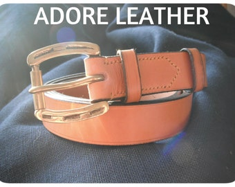 "Tan Leather Belt 1 1/4"" Wide 