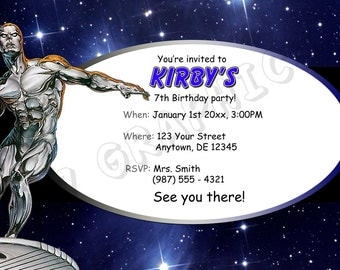 Silver Surfer Birthday Invitation - Printable