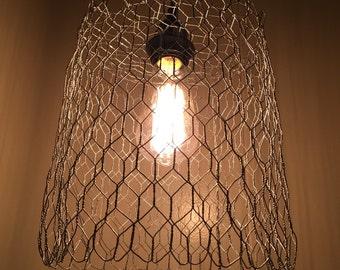 Pendant/ hanging lamp handmade w/chicken wire