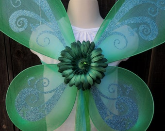 "Free Shipping  24"" x 20"" Pixie Fairy Butterfly Costume Toddler Children Wings Teal Blue Green Tinker Bell"