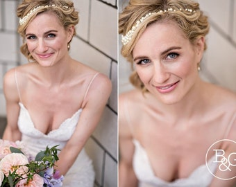 Delicate Silver Pearl Bridal Earrings