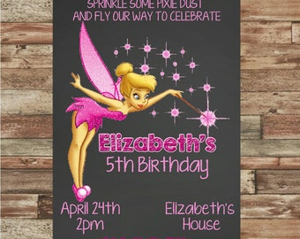 Chalkboard Tinkerbell Birthday Invitation