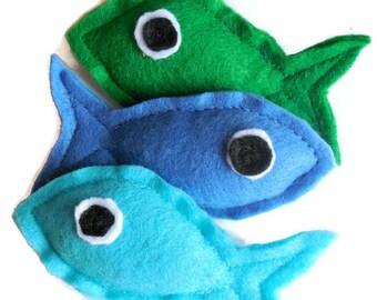 Felt Fish Catnip-Stuffed Kitty Toys (Aqua, Blue, or Green - Set of Five)