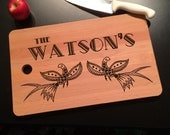 Family Name with Ornate Grouse Bird Laser Engraved Solid Birch Chopping Board