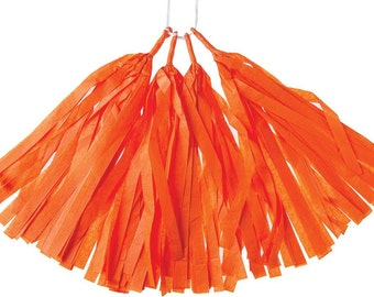 Orange Tissue Paper Pre Assembled Tassel Kit for Birthday Parties. Celebrations. Showers. Events