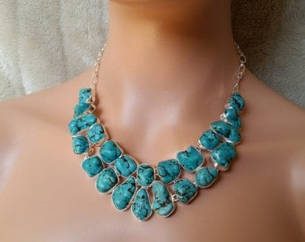 Large Blue Turquoise Howlite Statement Bib Necklace