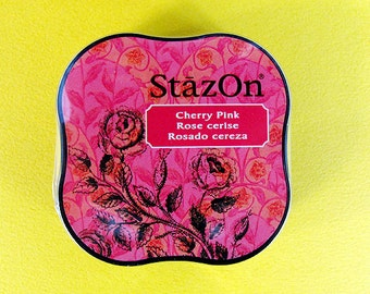 StazOn Ink ,  Cherry Pink, SZM-81, Multipurpose solvent-based ink, fabric, paper, wood, porcelain, leather