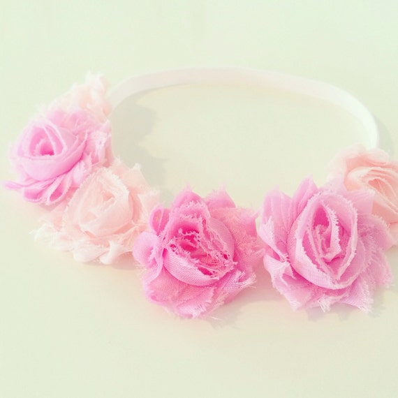 Rose Pink Flower Crown | Pink Flower Crown Headband for Baby Toddler Girls Adults, Light Pink Birthday Flower Crown, Pink Flower Girl Crown