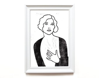 Linocut. limited | Portrait of a lady I