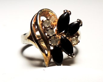 Onyx 14kt Gold CZ Ring