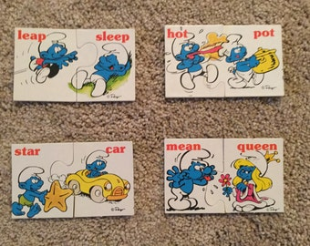 Smurfs Playschool Rhyming Match Ups and Smurfs 10 oz plastic cup, Collectible Vintage items 1980s, Preschool