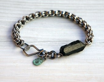 Medium Oxidized Sterling Silver 3-in-3 Chainmaille Bracelet with Rough Black Tourmaline Bead and Handmade Clasp