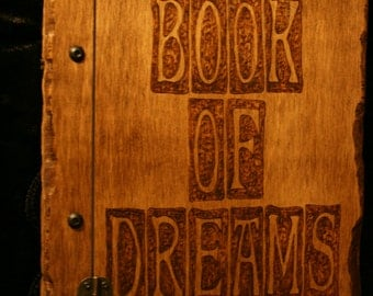 Handmade wooden book of dreams, diary, journal with approx 150 sheets of 80gsm paper - FREE UK SHIPPING!