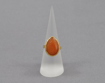 Bright Orange Adjustable Statement Ring. Orange Gemstone. Adjustable Ring. Statement Ring.