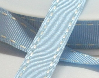 By the Metre Light Blue Grosgrain Modern Stitched Side Ribbon, 15mm Wide, UK Ribbon, Stitched Ribbon, Baby Ribbon, Home Decor Modern Ribbon