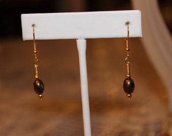 Table Cut Oval Aqua Glass Beaded Earrings