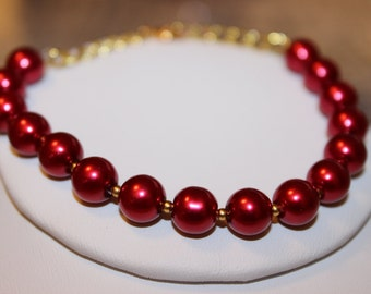Red Pearl Bracelet with Gold-Plated Spacers