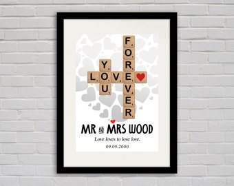 Personalised Scrabble 'Love You Forever' Print