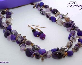 Purple necklace Gemstone jewellery Semi-precious necklace Beauje Handcrafted Gemstone necklace Beauje Unique Designer Gift Box Amethyst