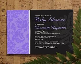 Lavender Damask Baby Shower Invitation Template| Girl Baby Shower Invitations | Boy Baby Shower Invites | Printable, Digital PDF,DIY Printed
