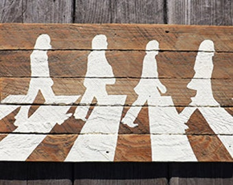 The Beatles Rock and Roll Abbey Road painting reclaimed wood sign