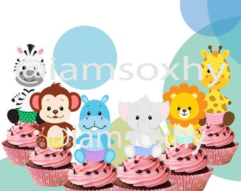 24 Baby Animal Safari Cupcake Toppers