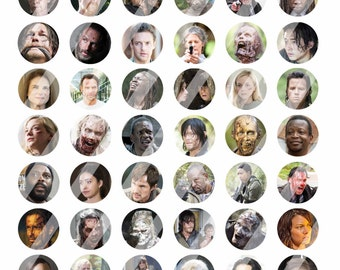 "The Walking Dead Season 5 Inspired 1"" Bottle Cap Images - 8.5x11 Digital Collage Sheet - Instant Download"