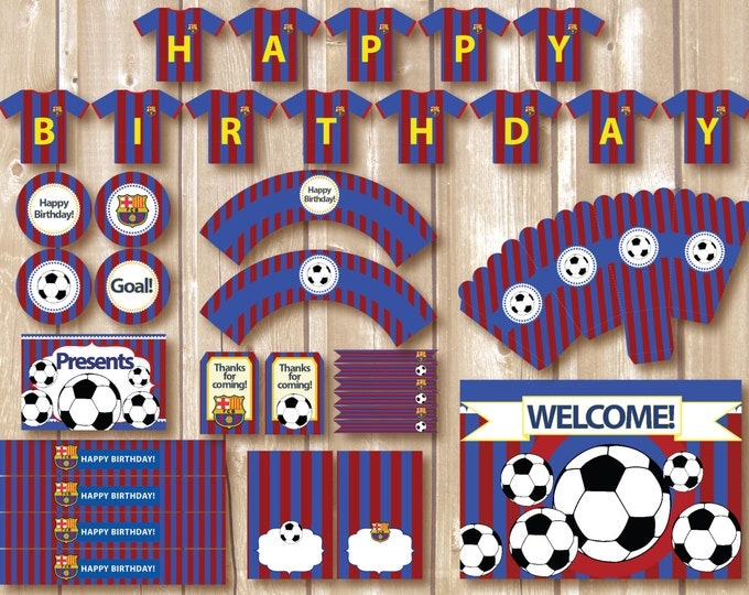 Soccer Party Package. Instant download. Printable. Matching Custom invitation available. Barcelona inspired printables.