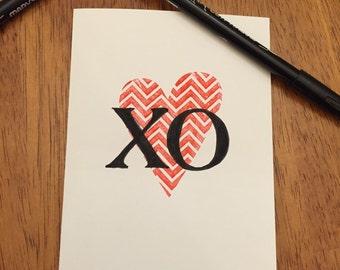 XO Valentine's Day Card - I Love You Card - Valentine's Day Card - Anniversary Card