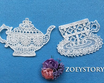 Coffeepot and Coffee Cup Appliques Set, Cotton Lace Applique, Off White, Sell by set