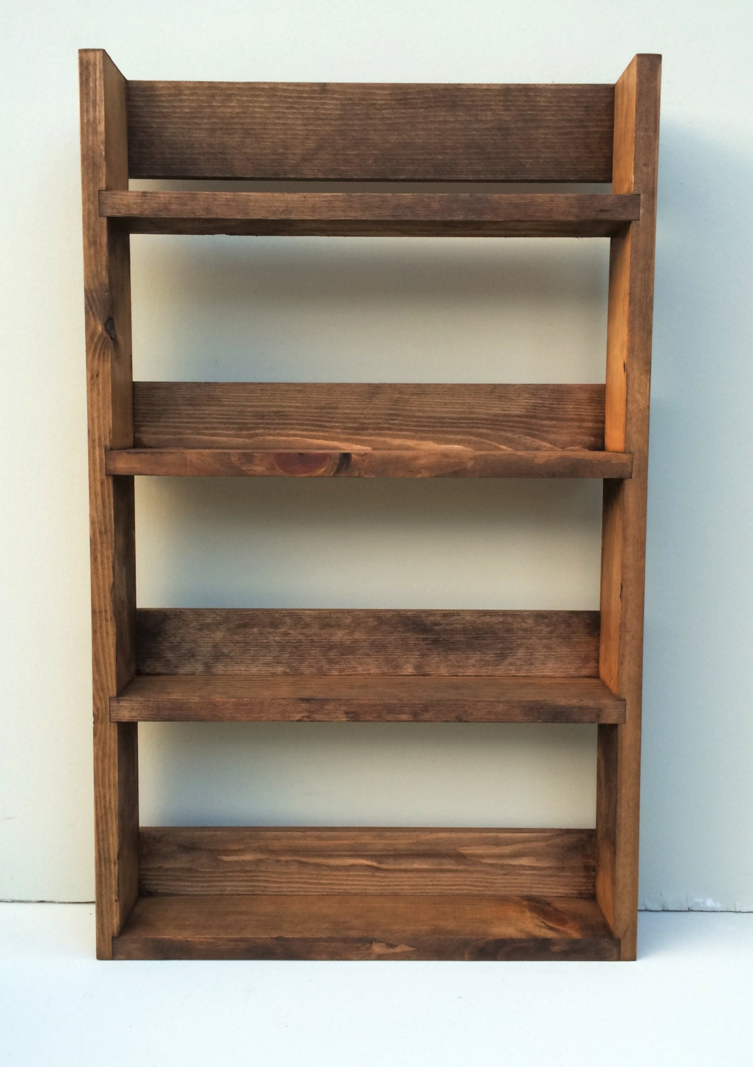 Rustic Spice Rack Made From Reclaimed Materials 4 Shelves