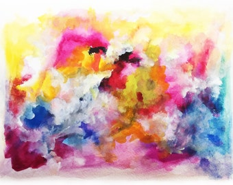 "Original Abstract Watercolor 'Inspiration' by Shaolan Sung-9""x12""-Blue,Yellow, Hot Pink, Black. Purple-Colorful Painting-With COA"