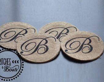 Set of 4 Burlap Coasters with Personalized Monogram