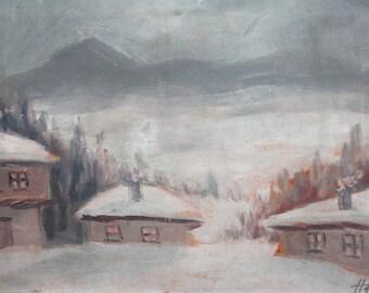 Antique European oil painting winter landscape